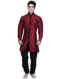 Royal Kurta Maroon Silk Blend Bandhgala Jodhpuri Indowestern Sherwani For Mens