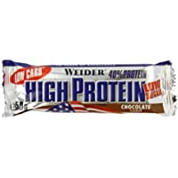 Weider Chocolate 50g 40 Percent Protein Low Carb Bar - Pack of 25 Bars by Weider
