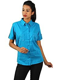 Old Khaki Solid Cotton Casual Partywear Shirt Women's Girls Shirt with Swaroski Stones on The Double Pockets in Aqua Blue Color with Contrast & Free Shipping