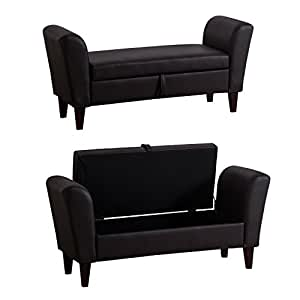 homcom aufbewahrung sofa bench bewaffneten bett fu hocker ottoman fu st tze pu leder braun. Black Bedroom Furniture Sets. Home Design Ideas