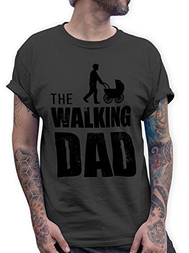 Shirtracer The Walking Dad Herren T-Shirt Vatertag Geburtstag Geschenk (XL, Dunkelgrau)