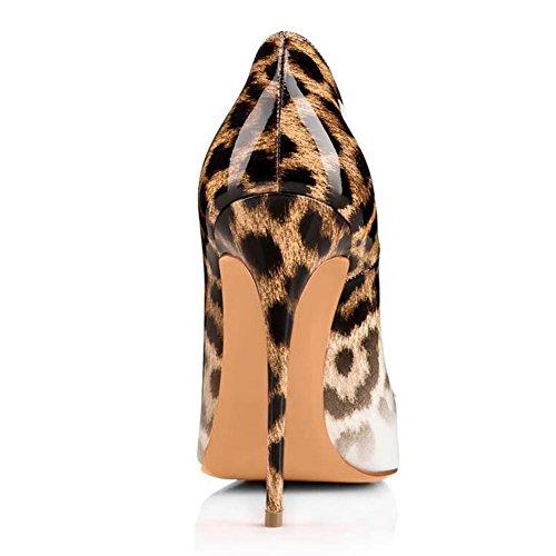 L@YC Frauen High Heels PU Leopard Gradient Steigung Hochzeitskleid Hochzeit Schuhe / Weiß / Schwarz White