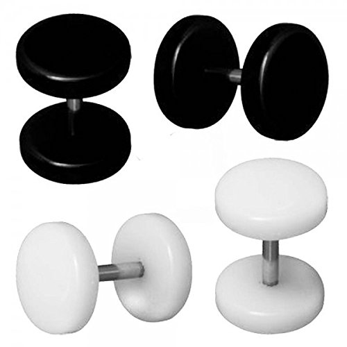 Set di 4 Plugs Falso Fakeplug Tunnel Piercing Orecchini 10 mm bianco e nero