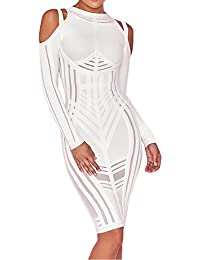 7a370e82f41d77 Whoinshop Damen Elegantes Langarm Bodycon Kleid Figurbetontes Bandage und  Mesh Cocktailkleider