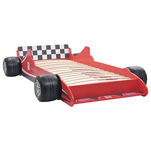 mewmewcat Cama Infantil con Forma de Coche de Carreras para Niños 90x200 cm Roja