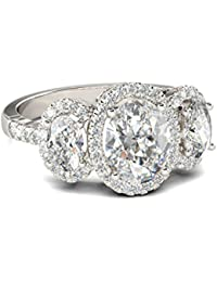 Naitik Jewels 925 Sterling Silver Oval Cut Diamond Wedding & Engagement Ring For Women