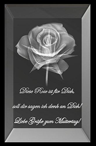 """VIP-LASER 3D Glaskristall XL Quader Rose mit Spruch """"Diese Rose ist für Dich, soll dir sagen ich denk an Dich! Liebe Grüße zum Muttertag!"""" - das perfekte Geschenk zum Muttertag"""