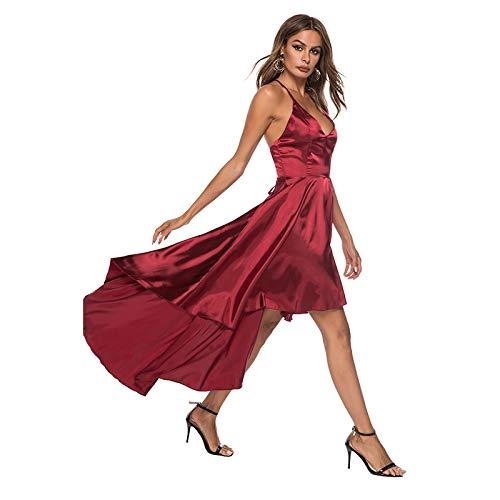 71046dee7a Hexiangsheng Casual Sommerkleid mit Split, Sommer-Swing-Kleid, Sling Deep  V-Ausschnitt, unregelmäßiges Satin-Kleid, Damen-Kleid (Size : S)*