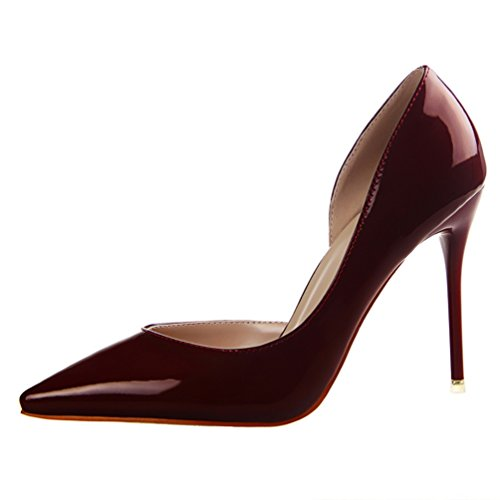 HooH Femmes Sexy Pointu D'Orsay Stiletto Escarpins Wine Red
