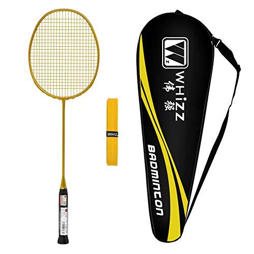 Whizz Badminton Schläger 5U mit Schlägertasche, One Piece Graphit, 79g (Golden)