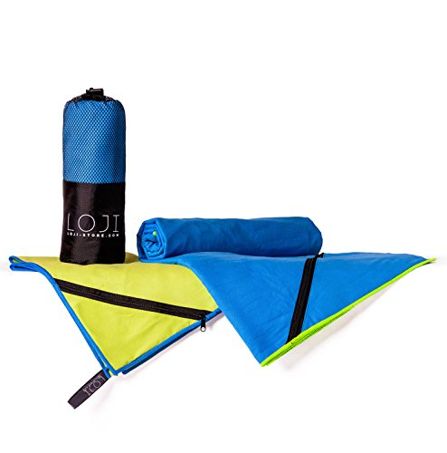 UltraleichtesMikrofaser-Handtuch 2er-Set gross & klein | Zip-Tasche für Wertsachen | schnelltrocknend & multifunktional | Robust & kompakt zu verstauen für Schwimmbad, Reisen und Sport | 160x80cm & 108x40cm