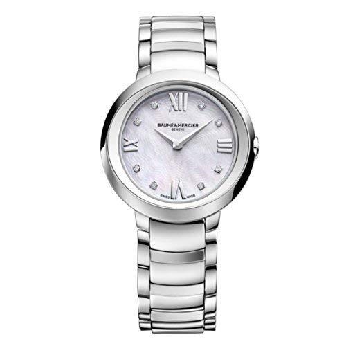 New Ladies Promesse plata diamante Dial cuarzo 30mm elegante reloj moa10158por Baume & Mercier