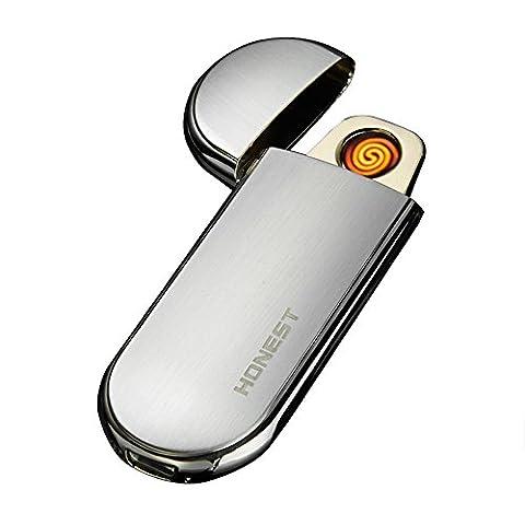 Ultra Fine Electronic Coil léger Portable rechargeable USB boîtier en acier inoxydable Cigarette et allume-cigare Briquet avec fil de tungstène Shake Capteur de gravité centres, Silver