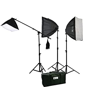 ePhoto Digital Photography Video Continuous Softbox Lighting Kit Photo Studio CFL Perfect Daylight Light Kit With BOOM STAND Hair LIGHTING KIT CARRY BAG H9060SB