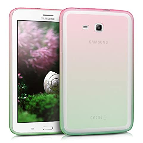 kwmobile Hülle für Samsung Galaxy Tab 3 7.0 Lite - Case Handy Schutzhülle TPU Silikon für Tablet - Backcover Cover klar Pink Grün Transparent