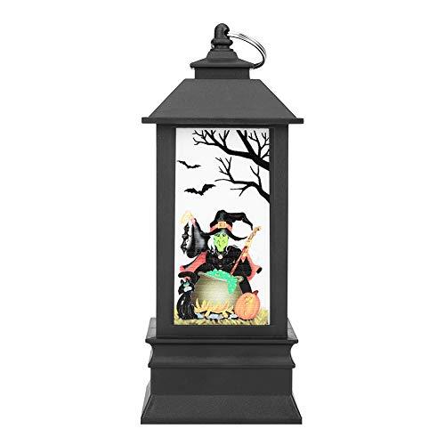 Eboxer Luz de Llama de Halloween de Mago/Esqueleto / Calabaza/Fantasma, Luz de la Lámpara de Aceite Pequeña Mejor Decoración de Regalo para el Festival de Halloween(Mago)