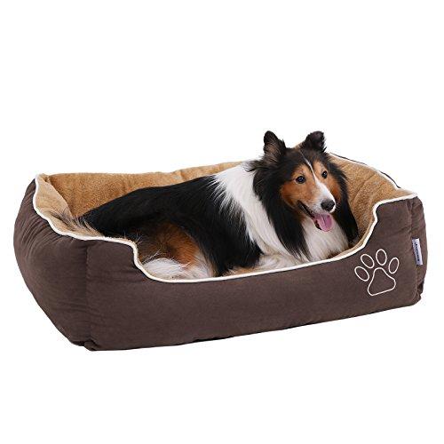 SONGMICS Weiches Luxus Hundebett, L, mit Abnehmbarem Kissen, Braun+Beige, 90 x 25 x 75 cm, PGW06YC