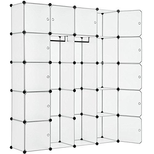 Juskys DIY Regalsystem Garderobenschrank Kleiderschrank aus 20 variablen Boxen in Weiss (Boxen Kleiderschrank)