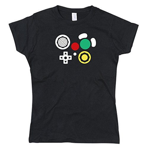 Gamecube inspired buttons console videogame joypad controller Lady Fit Ladies T-Shirt Black