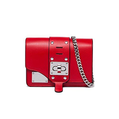 Donne Cuoio Genuino Rivetto Hardware Di Blocco Di Sicurezza Singola Spalla Crossbody Bag. Red