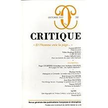 Critique, N° 785, Octobre 2012 : Et l'homme créa la page...