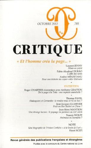 Critique, N 785, Octobre 2012 : Et l'homme cra la page...