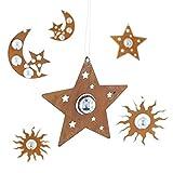 SIDCO 6er Set Hänger Rostoptik Metall Hängeschmuck Weihnacht Deko Sterne Mond
