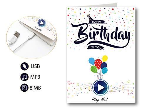 PlayMegram bespielbare Audio-Geburtstagskarte mit USB und 8 MB Speicher, Für Sprachnachrichten und Musik, Audiogrußkarte, Glückwunschkarte, Happy Birthday Grußkarte, Kreative Geschenkidee