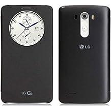 LG CCF 340G - Funda para LG G3 con tapa y círculo central (textura tipo tela, acabado metalizado), negro