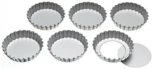 webest Edelstahl aus Törtchen Dosen mit lose Basen, 14cm (Set von 6) Fluted Mini-tarte