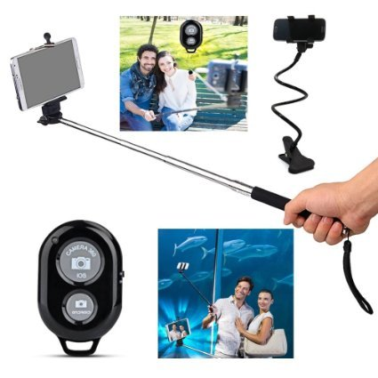 Elite+Premium+Product Bluetooth Monopod Selfie Stick, Selfy Sticks, Best Selfies Sticks Bluetooth Remote. With Complimentary Tripod & Lazy Cell Phone Holder. Extra Strong, Super Comfortable.