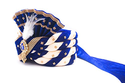 Wedding Groom Head Safa Turban - Velvet (Blue, 22.5)