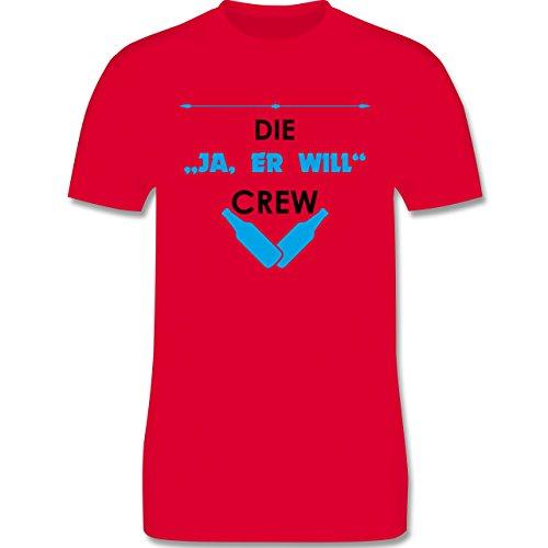 "JGA Junggesellenabschied - Die ""Ja, er will"" Crew - Herren Premium T-Shirt Rot"