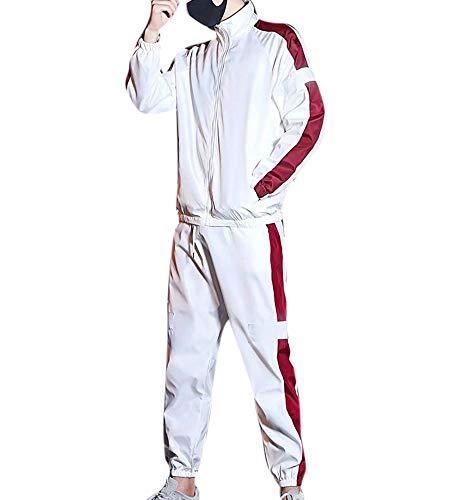 Unisex Herbst New Reflective Strip Zip Tops & Hose 2 Stück Anzug, Männer Hip Hop Trainingsanzug