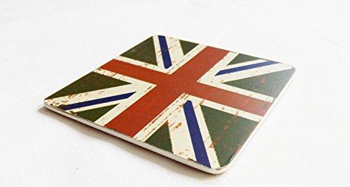 Single Union (Vintage Style Union Jack Flagge Untersetzer (Single), grün, 10x10)