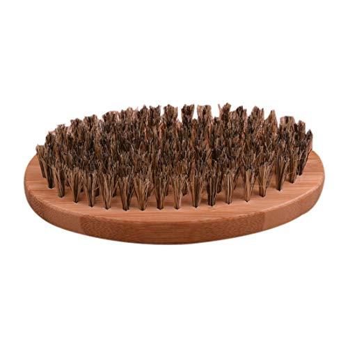 Cepillo de barba bigote Cerda de jabalí natural Mango redondo de madera Masaje facial de hombres Cepillo de barba de afeitar de pelo barba de tejón facial