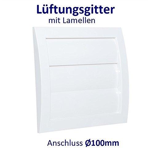 Lüftungsgitter mit beweglichen Lamellen Jalousie Abschlussgitter Rückstauklappe Verschlussklappe. ABS-Kunststoff. VCD. (Anschluss Ø100mm, Weiß)