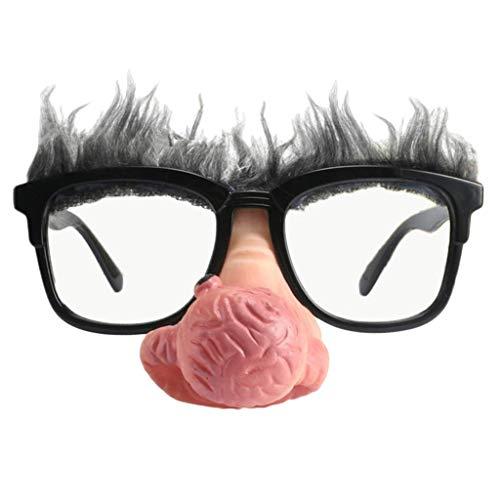 Mann Lustig Alter Kostüm - Fliyeong Neuheit große Nase Alter Mann Sonnenbrille lustige Party Kostüm Requisiten Unisex langlebig und nützlich