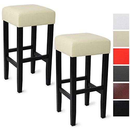 WOLTU BH22cm-a 2 x Barhocker Barstuhl Holz Kunstleder ohne Lehne, 2er Set, robustes Massivholz, Antirutschgummi, pflegeleichter Kunstleder, gut gepolsterte Sitzfläche, Creme