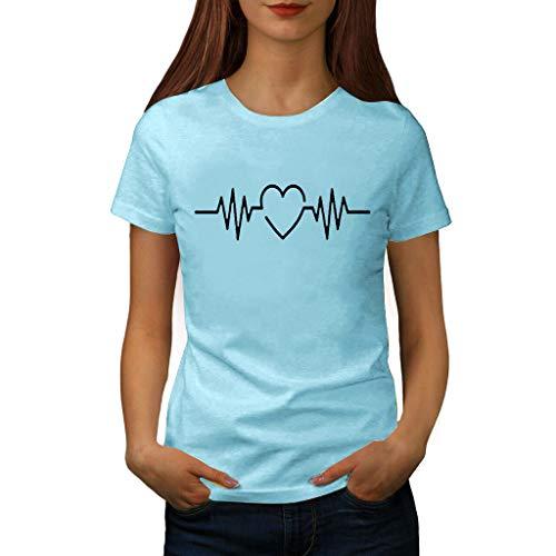 Damen T Shirt, CixNy Bluse Damen Kurzarm Sommer Mode Locker Ärmelloses Herz Drucken Lässig O Hals Oberteil Tops (M, Hellblau) -