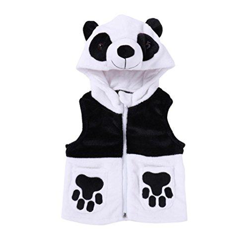 Kobay Kleinkind Baby Jungen Mädchen Cartoon Panda Hooded Weste Tops Weste Outfits Kleidung (70/1Jahr, Weiß)