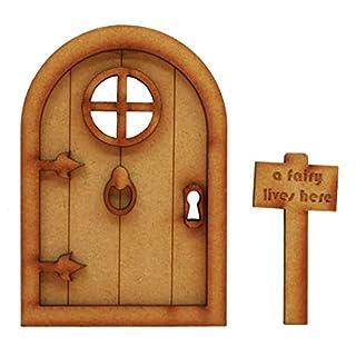 Fairy Castle Fairy Tür. dreidimensionale Selbstmontage Kit Fairy Tür Craft Holz mit Türklopfer, Griff und Fee Schild