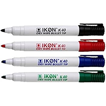 Pack of 4 Hainenko WB SL Dry Wipe Marker with Fine Bullet Tip Assorted