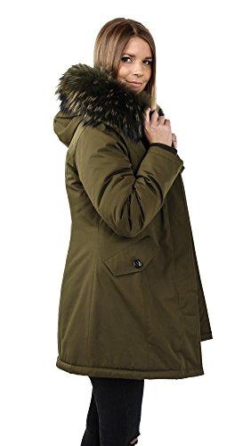 Freshlions Damen Premium Parka mit Echtfell in verschiedenen Farben Khaki