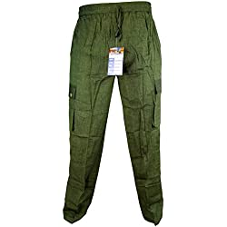 LITTLE KATHMANDU - Pantalones sueltos de verano de algodón para hombre, cintura elástico verde Plain Green XXXL