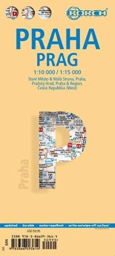 Praga, plano callejero plastificado. Escala 1:10.000/15.000. Borch. por VV.AA.