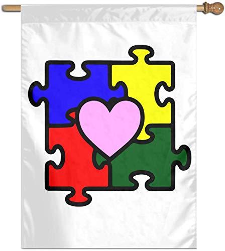RJin92 Autismus Herz Puzzle Autismus Bewusstsein Vertikale Flagge Outdoor Garten Flagge Dekorative Haus Flagge 27 'X 37'