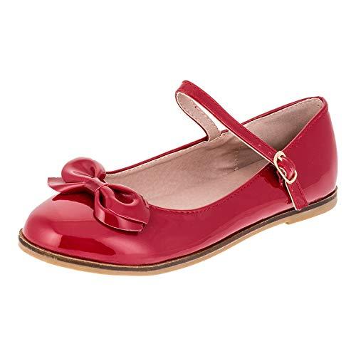 Festliche Kinder Mädchen Ballerinas Schuhe für Partys und Freizeit in Vielen Farben M297rt Rot Gr.29 (Kommunion Schuhe Mädchen)