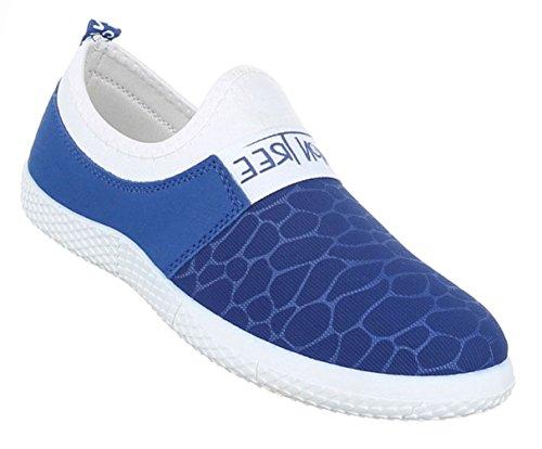 Damen Schuhe Halbschuhe Sportliche Slipper Freizeitschuhe Schwarz Blau