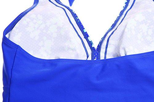 EOZY-Due pezzi Donna Bikini Mare Costume da Bagno Mini Gonna Blu